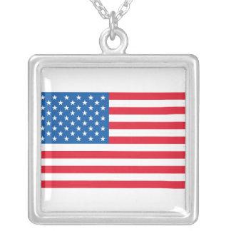 Colar Banhado A Prata Bandeira dos Estados Unidos da bandeira dos EUA