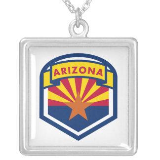 Colar Banhado A Prata Bandeira e bandeira do estado da arizona