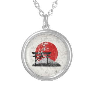 Colar Banhado A Prata Bandeira e símbolos de Japão ID153