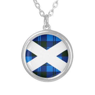 Colar Banhado A Prata Bandeira escocesa do Tartan