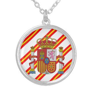 Colar Banhado A Prata Bandeira espanhola das listras