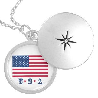 Colar Banhado A Prata Bandeira EUA americanos de América