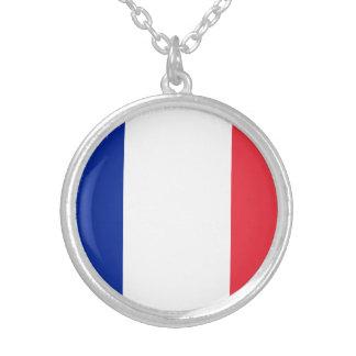 Colar Banhado A Prata Bandeira francesa patriótica