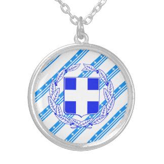 Colar Banhado A Prata Bandeira grega das listras