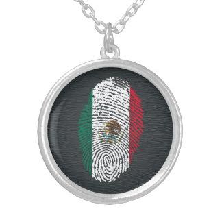 Colar Banhado A Prata bandeira mexicana da impressão digital do toque