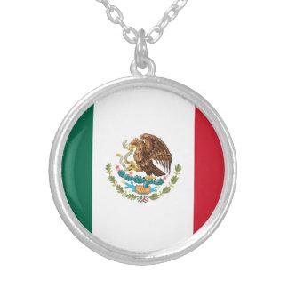 Colar Banhado A Prata Bandeira mexicana patriótica