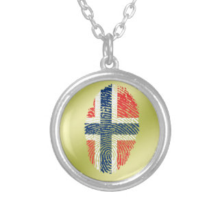 Colar Banhado A Prata Bandeira norueguesa da impressão digital do toque