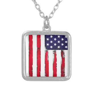 Colar Banhado A Prata Bandeira patriótica americana do Grunge