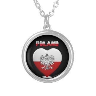 Colar Banhado A Prata Bandeira polonesa do coração