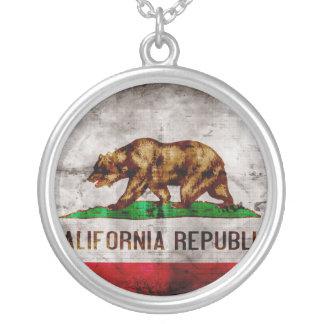 Colar Banhado A Prata Bandeira resistida de Califórnia