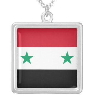 Colar Banhado A Prata Bandeira síria