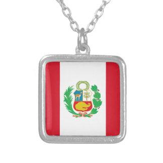 Colar Banhado A Prata Bandera del Perú - bandeira de Peru