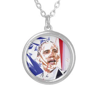 Colar Banhado A Prata Barack Obama