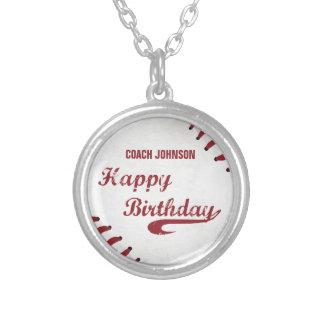 Colar Banhado A Prata Basebol do Grunge do feliz aniversario do