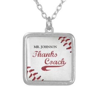 Colar Banhado A Prata Basebol do Grunge do treinador de basebol dos