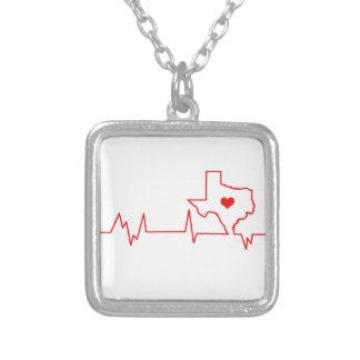 Colar Banhado A Prata Batimento cardíaco de Texas