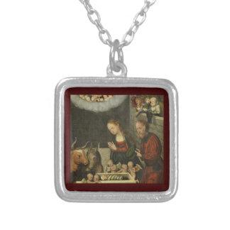 Colar Banhado A Prata Bebê adorador Jesus dos pastores por Cranach