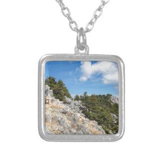 Colar Banhado A Prata Bench na montanha rochosa com árvores e o céu azul