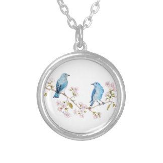 Colar Banhado A Prata Bluebirds da montanha no ramo de Sakura