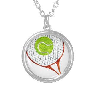 Colar Banhado A Prata Bola de tênis Sketch3