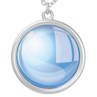 Colar Banhado A Prata Bola de vidro mágica azul
