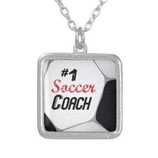 Colar Banhado A Prata Bola do treinador do futebol #1 grande