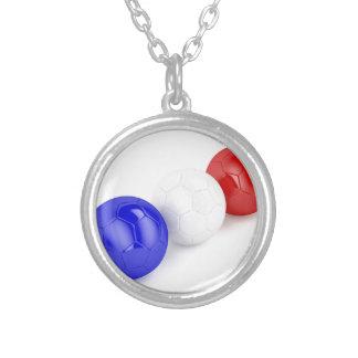 Colar Banhado A Prata Bolas do futebol com a bandeira de France