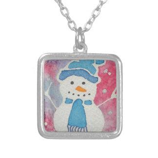 Colar Banhado A Prata boneco de neve em um chapéu lanoso