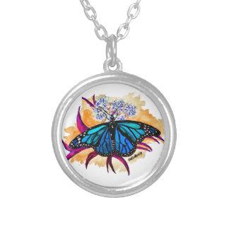 Colar Banhado A Prata Borboletas de monarca
