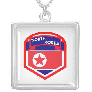 Colar Banhado A Prata Brasão da bandeira da Coreia do Norte