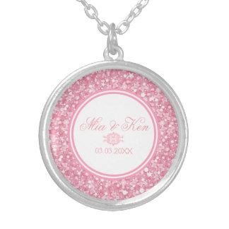 Colar Banhado A Prata Brilho cor-de-rosa - salvar a data