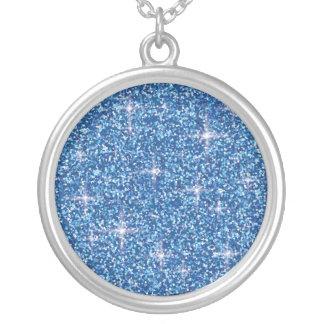 Colar Banhado A Prata Brilho iridescente azul