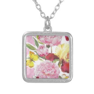 Colar Banhado A Prata Buquê cor-de-rosa e amarelo floral da íris da