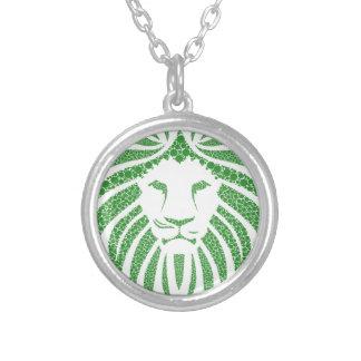 Colar Banhado A Prata Cabeça verde do leão