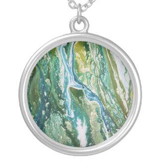 Colar Banhado A Prata Cachoeira azul verde abstrata colorida de turquesa