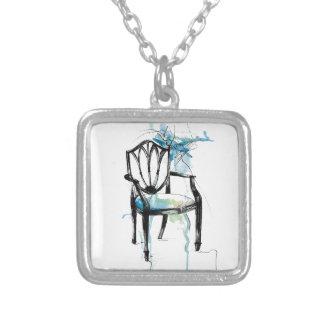 Colar Banhado A Prata Cadeira de Hepplewhite - aguarela