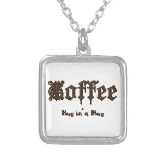 Colar Banhado A Prata Café - um abraço em uma caneca    gótico