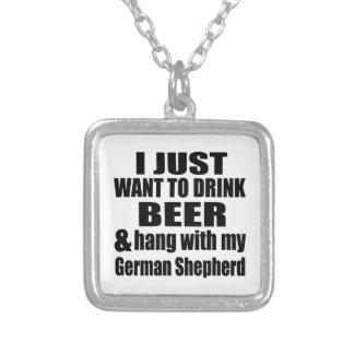 Colar Banhado A Prata Cair com meu german shepherd