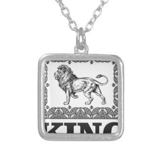 Colar Banhado A Prata caixa do leão do rei