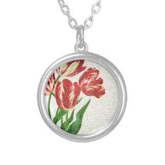 Colar Banhado A Prata Caligrafia vermelha das tulipas