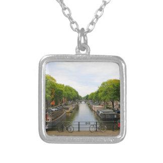 Colar Banhado A Prata Canal, pontes, bicicletas, barcos, Amsterdão,