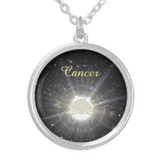 Colar Banhado A Prata Cancer brilhante