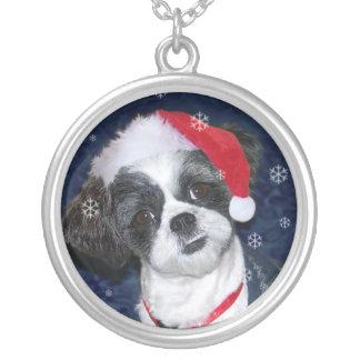 Colar Banhado A Prata Cão de Shih Tzu do Natal