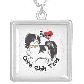 Colar Banhado A Prata Cão engraçado & bonito adorável feliz de Shih Tzu