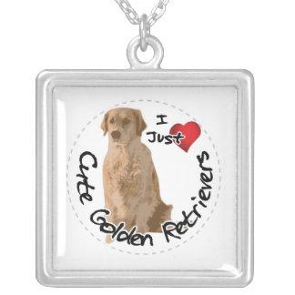 Colar Banhado A Prata Cão engraçado & bonito adorável feliz do golden