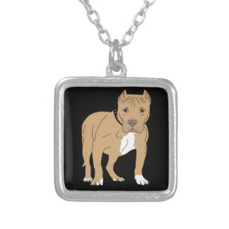 Colar Banhado A Prata Cão personalizado de Pitbull do americano