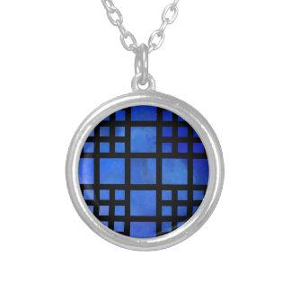 Colar Banhado A Prata Cappanella V1 - quadrados azuis