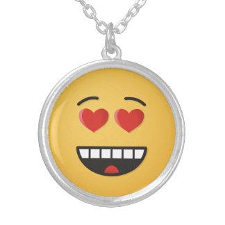 Colar Banhado A Prata Cara de sorriso com olhos Coração-Dados forma