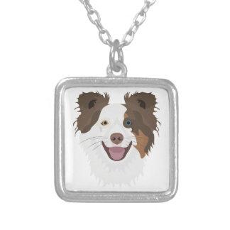 Colar Banhado A Prata Cara feliz border collie dos cães da ilustração