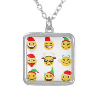 Colar Banhado A Prata caras felizes do emoji do xmas